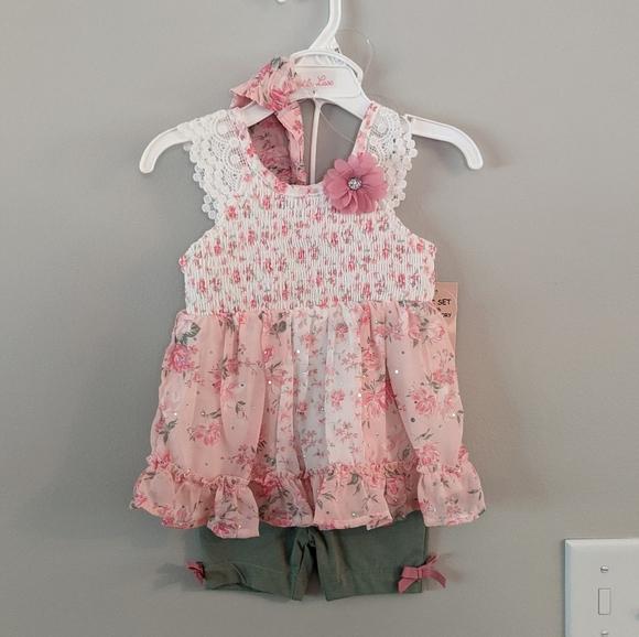 NWT Floral Blush 3 Piece Set - 12 months